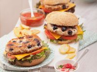 Blueberry Chicken Burgers with Raspberry Mayonnaise recipe