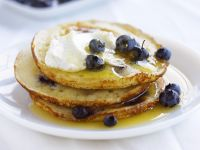 Blueberry Batter Cakes with Syrup recipe