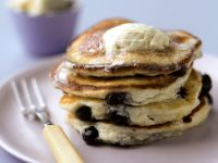 Blueberry Ricotta Pancakes with Maple Syrup Butter recipe