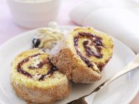 Blueberry Sponge Roll Slice