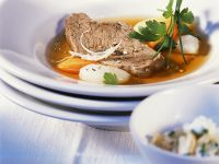Boiled Beef with Root Vegetables and Apple Horseradish Slaw recipe