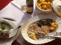 Boiled Beef with Spinach, Roasted Potatoes and Herb Sauce recipe