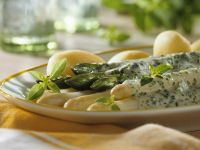 Boiled Potatoes with Herb Sabayon and White and Green Asparagus recipe