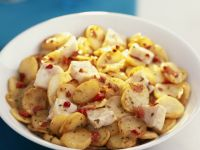 Bowl of Sliced Potatoes with White Fish recipe