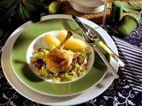Braised Chicken, Bacon and Savoy Cabbage with Chestnuts and Potatoes recipe