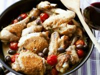 Braised Chicken in White Wine, Tomato-Cream Sauce recipe