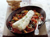 Braised Monkfish on Tomato Olive Vegetable