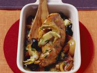 Braised Rabbit with Spicy Sausage and Artichokes recipe