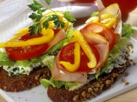 Bread Sandwiches with Cream Cheese, Vegetables and Turkey recipe