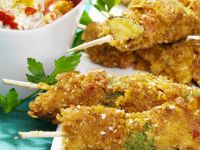 Breaded Chicken and Vegetable Skewers recipe