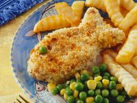 Breaded Fish Fillets with Peas and Sweet Corn recipe