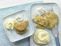 Breaded Kohlrabi with Walnut Dip and Mashed Potatoes