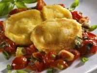 Breaded Mozzarella Slices with Tomatoes recipe