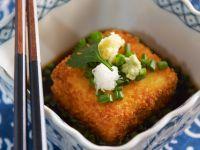 Crispy Golden Vegan Squares with Garnish recipe