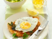 Breaded Veal Cutlet with Fried Eggs recipe