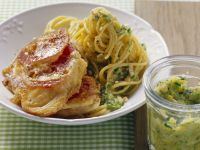Breaded Veal Cutlets Milanese with Spaghetti recipe