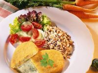 Breaded Vegetable Burgers with Rice and Herb Sauce recipe