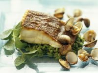 Brill and Green Pea Salsa with Cockles recipe