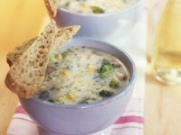 Broccoli Soup with Corn and Mushrooms recipe