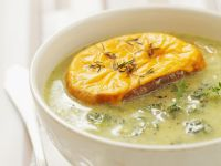 Broccoli Soup with Crusty Cheese Bread recipe