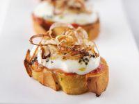 Bruschetta with Buffalo Mozzarella and Roasted Onions recipe