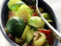 Brussels Sprouts Salad with Leeks and Pancetta recipe