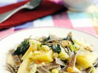 Buckwheat Noodles with Potatoes, Cabbage and Cheese recipe