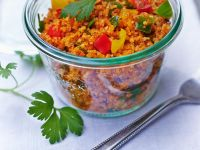 Bulgur Salad with Tomatoes and Bell Peppers recipe