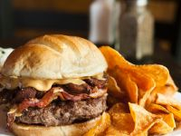 Burger with Bacon, Gyros, Peanut Butter and Sweet Potato recipe