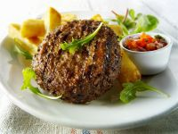 Burgers with Salad and Fries recipe