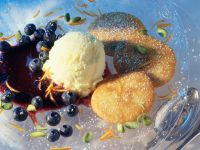 Buttermilk Pancakes with Blueberry Compote and Vanilla Ice Cream recipe
