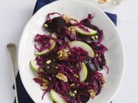 Cabbage Salad with Apples, Walnuts and Beets