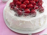Cake with Strawberries and Spun Sugar