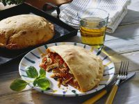 Calzone Stuffed with Mushrooms and Ham recipe