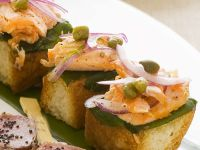 Canapes with Salmon and Red Onion recipe