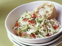 Capellini, Cabbage and Zucchini Salad with Peppers recipe