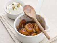 Caramel Apricots with Pistachio Yogurt recipe