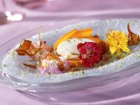Caramel Flowers with Sharon Fruits and Cream Cheese Balls recipe
