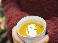 Carrot and Orange Soup with Horseradish Cream recipe