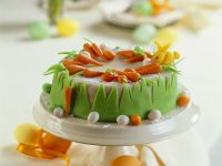 Carrot Cake with Marzipan Decorations recipe