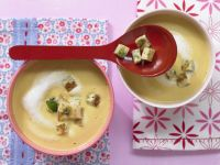 Carrot-Celery Root Soup with Tahini and Parsley Croutons