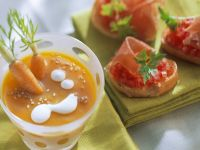 Carrot Soup with Tomato Crostini recipe
