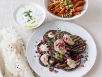 Charred Eggplant with Hummus, Carrots, and Tzatziki recipe
