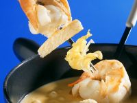 Cheese Fondue with Shrimp and Bread recipe