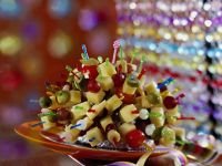 Cheese, Grape and Vegetable Party Skewers recipe