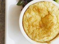 Cheese Soufflé with a Salad of Mixed Greens with Pecans and Pomegranate