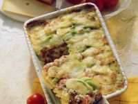 Cheese-Topped Baked Meat and Potato Casserole recipe