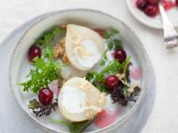 Cheesy Pear Halves with Leaves recipe