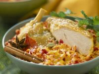 Cheesy Rice with Chicken Pieces recipe