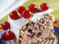 Cherry Cake with Almonds and Cream